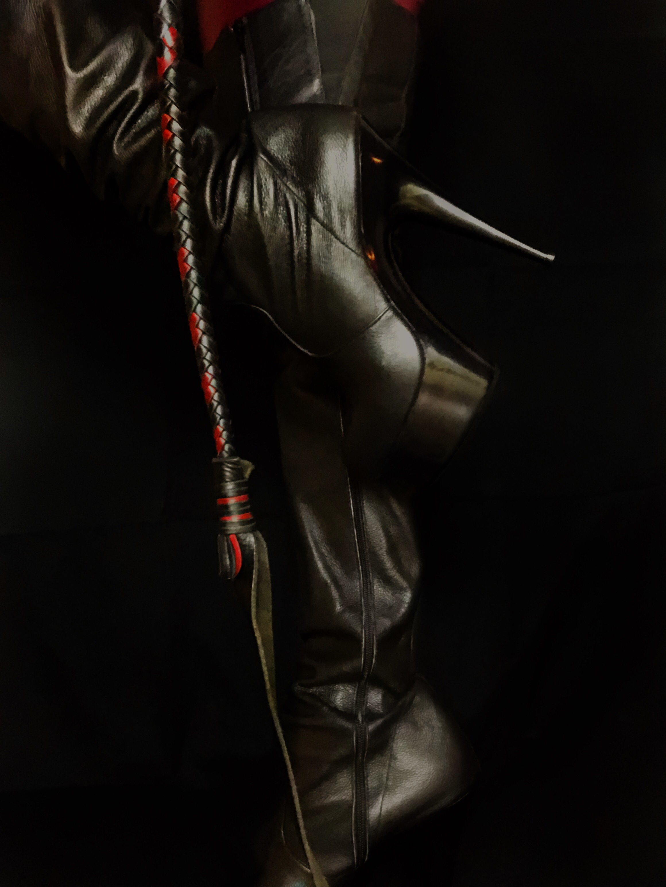 leather boots, leather worship, thigh high boots, whip, whipping, Chicago dominatrix