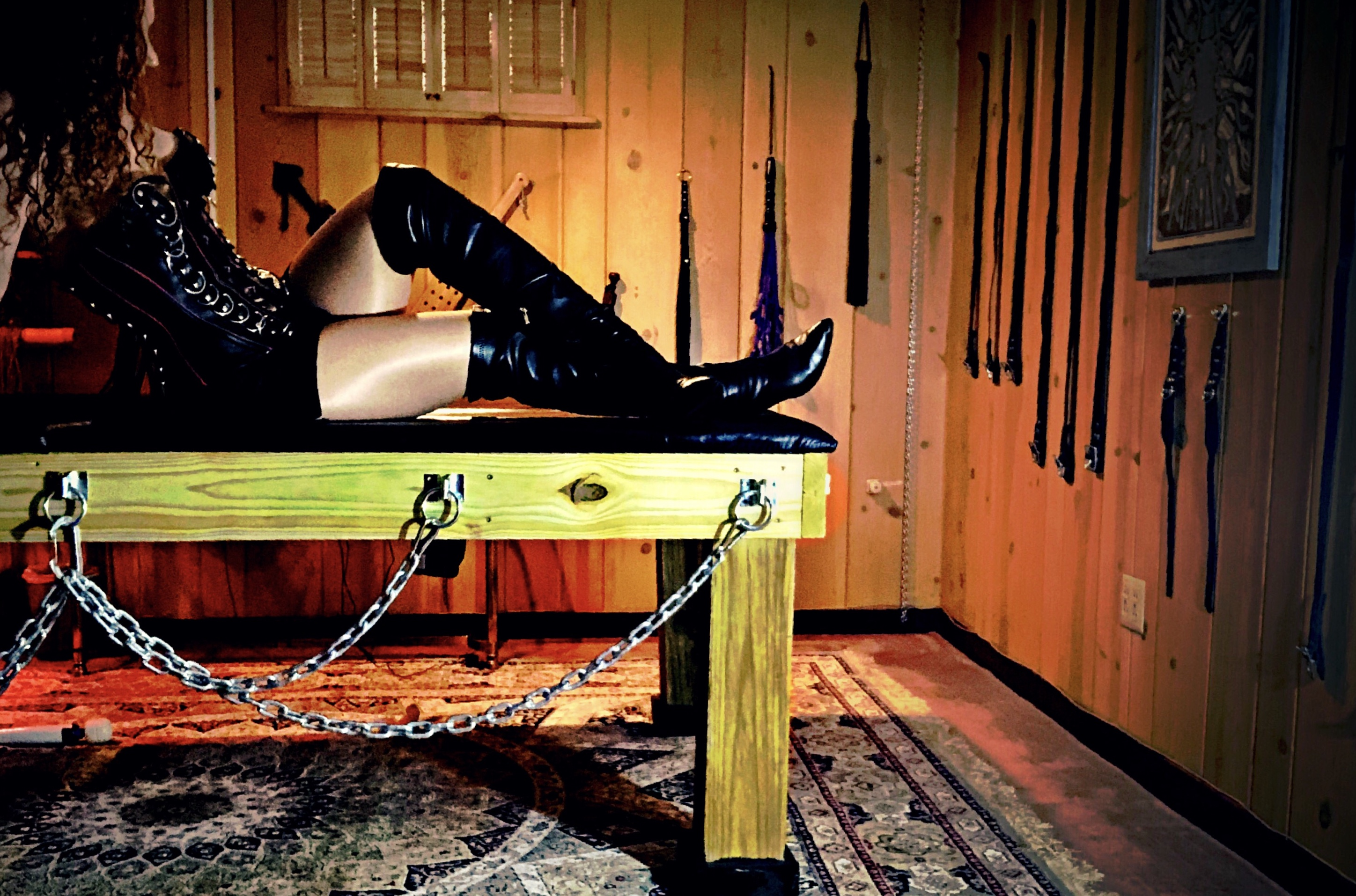 bondage table, thigh high boots, boot fetish, boot worship, dominance, submission, leather worship, leather fetish, bondage, bondage straps, chains